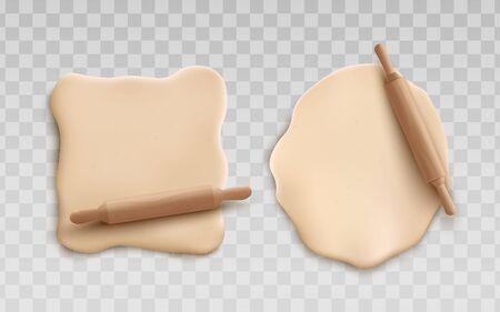 Cottura cruda arrotolata isolata su sfondo trasparente, pezzo realistico di pizza fatta in casa o fase di preparazione dei biscotti. Illustrazione dell'ingrediente alimentare.