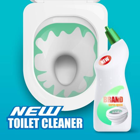 Advertising promotional banner template of new cleaner detergent with top view of modern toilet bowl seat, realistic illustration isolated on background. Illustration