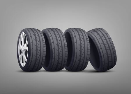 Stack of automobile tires and wheels 3d photo realistic illustration on gray background. Rubber car tires for transportation and vehicle projects design.