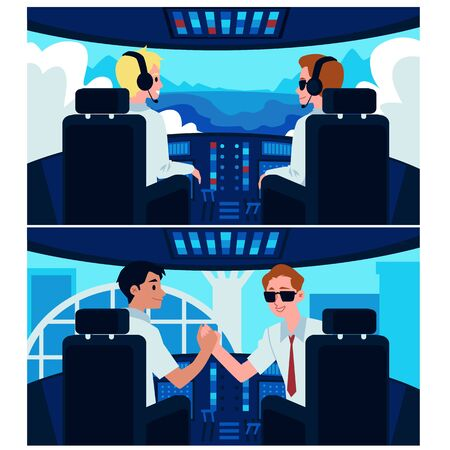 Cartoon airplane cockpit interior with plane captain and second pilot sitting in front of control panel and window view. Aircraft lift off and flying in the sky