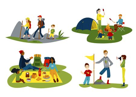 Cartoon family hiking set - parents and children having a picnic, camping with bonfire, hiking with backpacks and putting flag on hill top. Isolated flat vector illustration.
