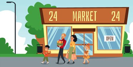 Cartoon family outside of 24 hour market building holding present boxes and shopping bags - flat banner of parents walking with children, vector illustration