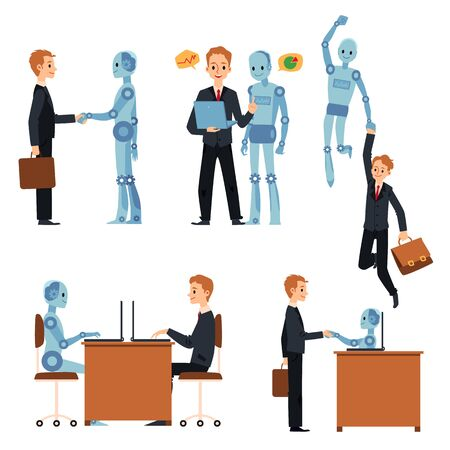 Cartoon businessman and robot set - blue cyborg and businessman working together in office, virtual and real AI assistant