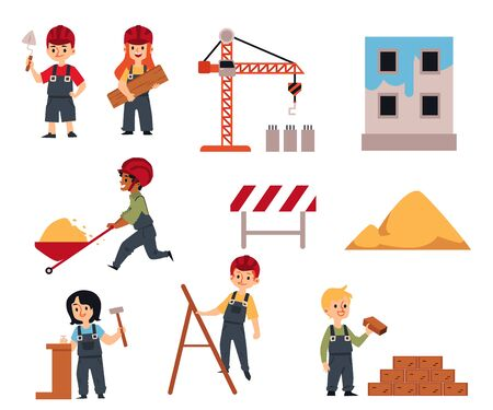 Cartoon children construction workers - isolated set. Boys and girls in industrial builder uniform and helmet holding building equipment - flat vector illustration.