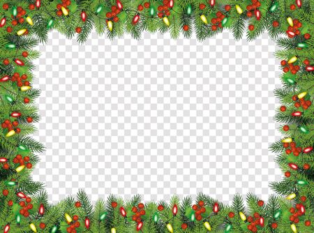 Christmas fir-tree branches with lights and holly berries decorative frame, vector illustration isolated on transparent background. Xmas and New Year banner decoration.