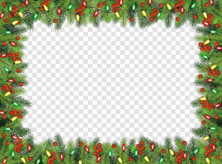 Weihnachtstannenzweige mit Lichtern und dekorativem Rahmen der Stechpalmebeeren, Vektorillustration lokalisiert auf transparentem Hintergrund. Weihnachts- und Neujahrsbannerdekoration. Vektorgrafik