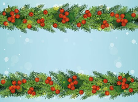 Christmas and New Year holiday decoration border - green pine tree branches with red holly berries on top and bottom border of blue bokeh background