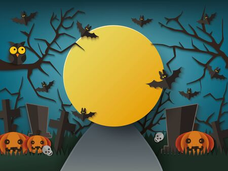 Halloween poster or banner background with moon night on graveyard landscape. Cutted out of paper silhouettes of tombs and pumpkin monsters vector illustration.