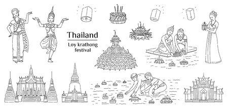 Loy krathong - festival nacional de Tailandia de luz, conjunto de dibujos de contorno blanco y negro aislado sobre fondo blanco.