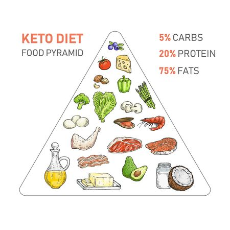 Keto diet food pyramid isolated on white background - triangle diagram for carbs, protein and fat distribution in ketogenic dieting - flat hand drawn vector illustration.