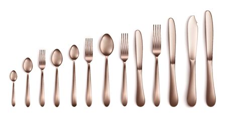 Set and collection of realistic cutlery in dark silver or bronze for kitchen. Cutlery and crockery, knife and fork, spoon. Isolated realistic vector illustration of cutlery.