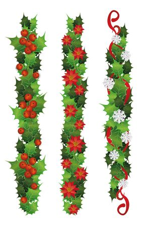Vertical holly plant borders with red berries and green leaves. Colorful tree branch set with poinsettia flowers and snowflakes - isolated vector illustration.