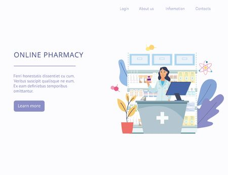 Cute woman cartoon character, pharmacist in uniform standing at counter on backdrop of drugstore shelves, flat illustration. Template for website or landing page. Ilustração