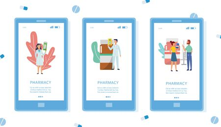 Pharmacy phone app interface set isolated on white background - modern smartphone screen with drugstore workers holding medicine bottles, flat illustration