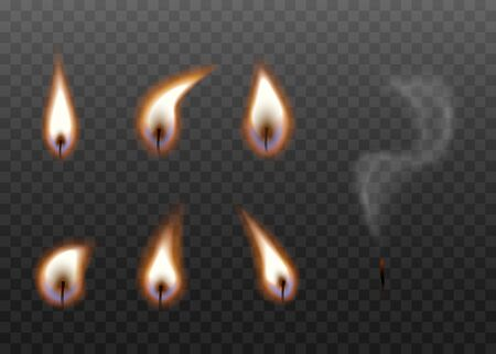 Candle wick burning stages set isolated on dark background - realistic black wicks with bright flame with and without fire. Stages of blowing out candles - vector illustration.