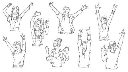 Gens de bande dessinée au concert ou à la soirée dansante - ensemble de foule en noir et blanc de jeunes hommes et femmes dansant, criant et souriant. Vecteurs