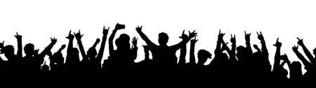 Silhouette de foule de fans de musique noire - gens de dessins animés acclamant et dansant lors d'un concert de rock ou d'une soirée dansante avec les mains en l'air.