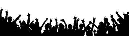 Rock music concert crowd silhouette isolated on white background - black outline of people dancing with arms in the air. Ilustrace