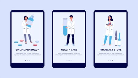 Smiling attractive pharmacists with drugs and pills, set of flat cartoon illustration isolated on background. Health care and online pharmacy banner for app. Ilustração