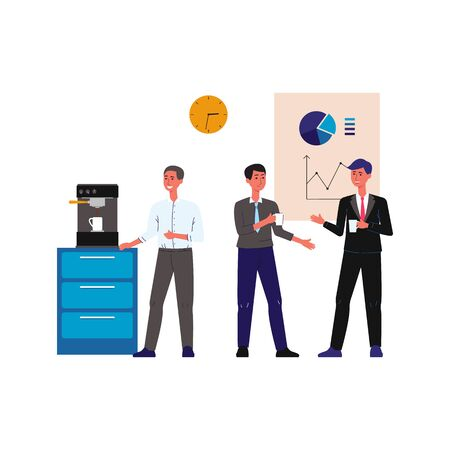 Office lunch break - cartoon people standing by coffee machine and talking isolated on white background, colleagues having business chat.