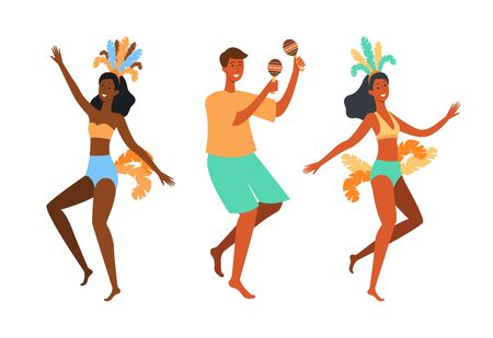 Brazilian dancer people - cartoon isolated set of man and women dancing in summer clothes and feather headpiece playing maracas Ilustração
