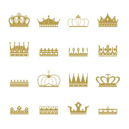 Set and collection of gold silhouettes of royal crowns. Icons, symbols and signs of the king or queens crown.Isolated flat illustration of golden crowns silhouettes.