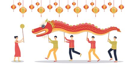 Cartoon people holding Chinese red dragon mascot above their heads, traditional Asian holiday celebration festival dance - isolated illustration
