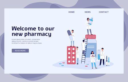 Banner di farmacia online con farmacisti di cartoni animati in possesso di medicinali diversi - modello di pagina di destinazione del sito Web medico con testo