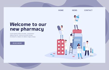 Online pharmacy banner with cartoon pharmacist people holding different medicine - medical website landing page template with text