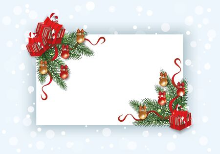 Christmas card template with pine tree branch corner border decorated with baubles, ribbons and gift boxes. Blank banner template with white copy space - vector illustration.