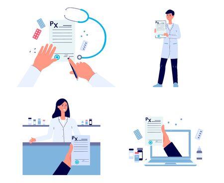 Conjunto de dibujo plano de prescripción médica: documento de firma de médico, formulario en papel, de pie en la farmacia y recomendación de medicamentos en línea Ilustración de vector