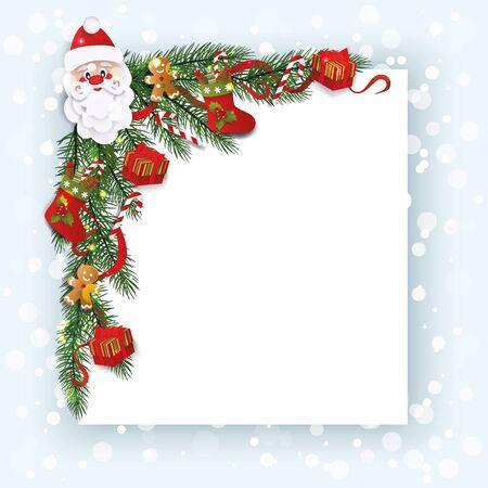 Decorative corner with Christmas stockings, Santas head and gingerbread man cartoon vector illustration. Xmas or New Year greeting invitation card template design. Ilustração