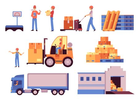 Warehouse elements - flat isolated cartoon set of storage facility building, cargo truck, yellow forklift, working men, pile of cardboard boxes - vector illustration collection  イラスト・ベクター素材