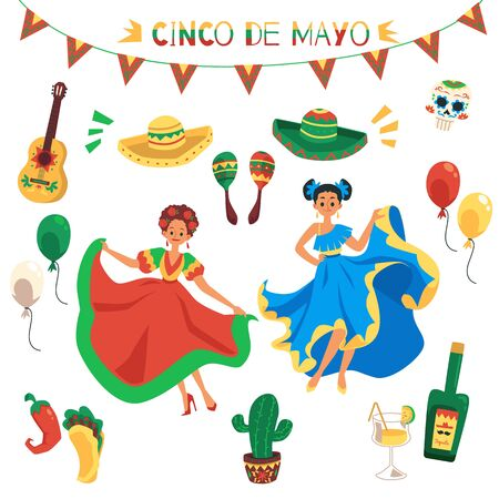 Cinco de mayo holiday element isolated set - colorful flat symbols of Mexican culture. Sombrero, maracas, painted skull, dancing women, chilli pepper, tequila - vector illustration