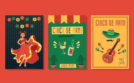 Cinco de mayo party invitation card set - flat cartoon flyer collection with Mexican dancer woman, tequila bottle, sombrero and guitar - holiday celebration banner vector illustration Ilustração