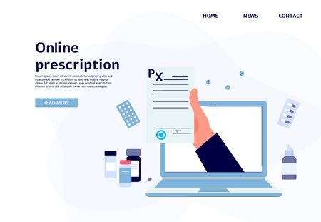 Online prescription banner - flat website landing page template with hand holding paper document coming out of laptop screen isolated on white background, vector illustratoin.