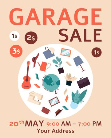 Flat garage sale ad poster with bunch of furniture and decor stuff thrown in the center - banner with date and location text template.