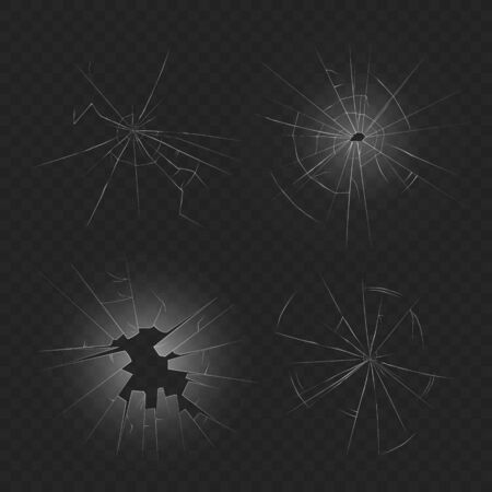 Realistic broken glass texture set - crashed window crack with hole and spider web shape isolated on dark transparent background - vector illustration