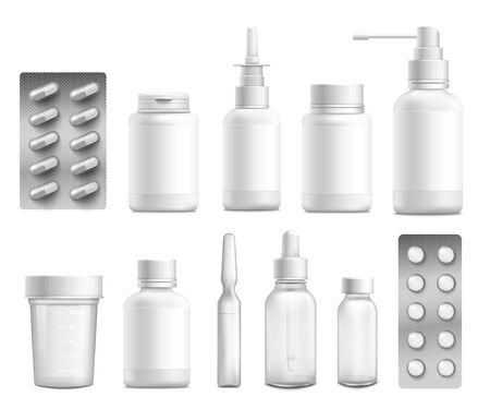 Plastic blank white bottle packaging or medical containers for pills and drugs 3d realistic set of mock up  illustrations isolated on white background.