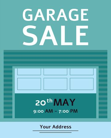 Garage Sale advertising inviting banner  with text flat illustration. House old goods reusing and sale informative poster, business invitation.
