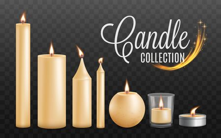 Set of realistic beautiful burning festive candles of different shapes and sizes. Realistic golden candles with fire and flame. Vector illustration of shining candles on a transparent background.