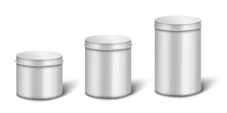 Silver or steel metal blank boxes or containers 3d realistic vector illustrations set isolated on white background. Food products cylinder can, packaging for store.