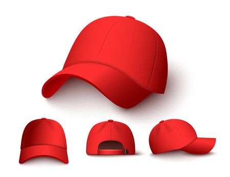 Bright red baseball cap mock up set from different angles isolated on white background. Front, side and back view of colorful hat - mockup collection vector illustration.