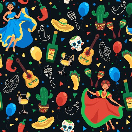 Cinco de mayo seamless pattern - Mexican national holiday symbol set on colorful black background with ethnic dancer, sombrero, tequila, maracas