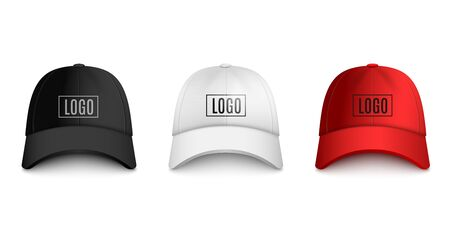 Realistic baseball cap front view mock up set with text logo template. Black, white and red hat collection isolated on white background
