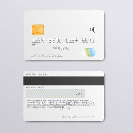 White credit card design mockup - front and back view set of realistic plastic bank debit card with empty copy space for branding template, vector illustration.