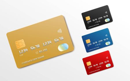 Bank card realistic mockup set - gold, black, blue and red credit or debit cards with blank copy space isolated on white background. Vector illustration.