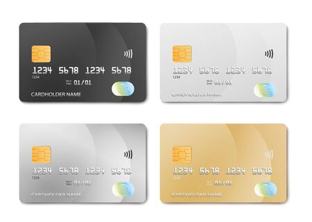 Plastic bank card design template set - isolated credit or debit cards mockup in black, silver, white and gold colors. Realistic vector illustration collection.