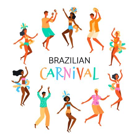Brazilian Carnival poster with dancing people characters flat cartoon illustration isolated on white background. Festival or holiday, celebration event banner.