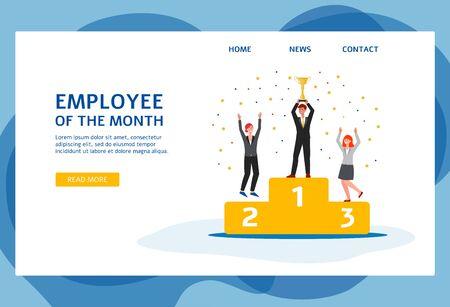 Employé du mois page de destination ou modèle de site Web avec des gens d'affaires soulevant la coupe du trophée d'or dans les mains, illustration vectorielle plane isolée sur fond blanc.